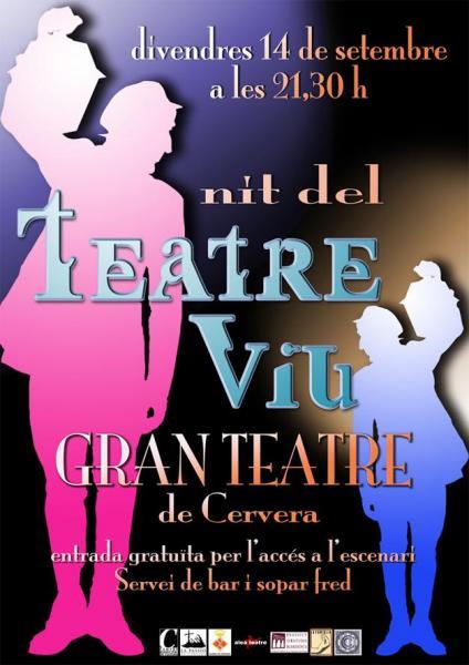 cartell Quarta edició de la Nit del Teatre Viu a Cervera - Cervera