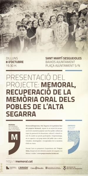 cartell Presentació del projecte Memoral. - Sant Martí Sesgueioles