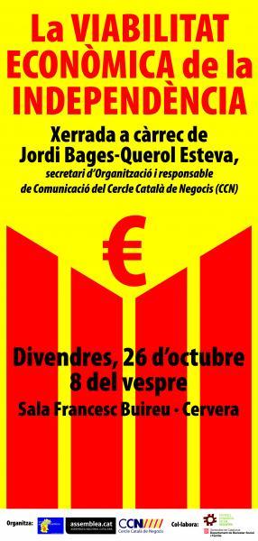 cartell la Viabilitat Econòmica de la Independència - Cervera