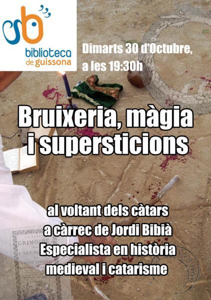 cartell xerrada sobre Bruixeria, màgia i superstició - Guissona