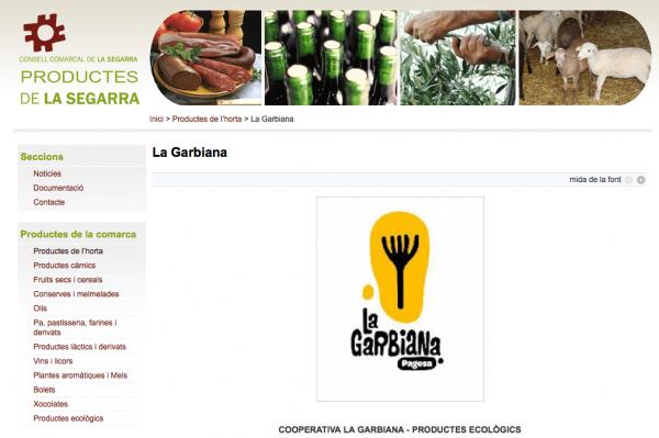 Pàgina web Productes de la Segarra -