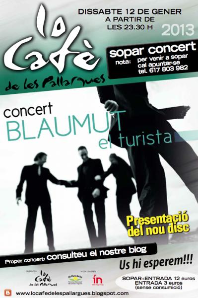 cartell Sopar concert amb Blaumut - Les Pallargues