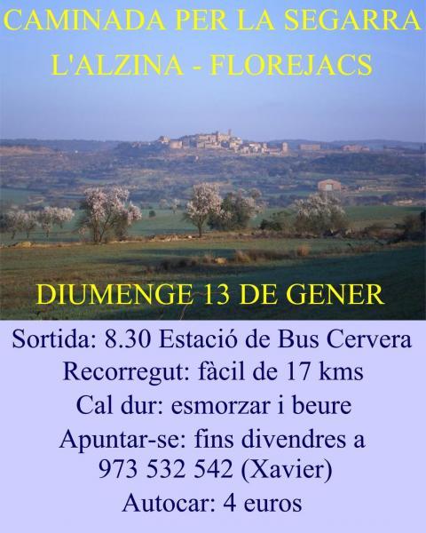 cartell Caminada a L'Alzina i Florejacs - Cervera