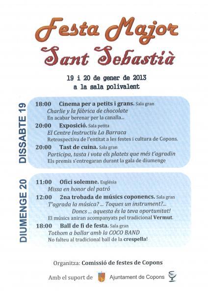 cartell Festa major de sant Sebastià - Copons
