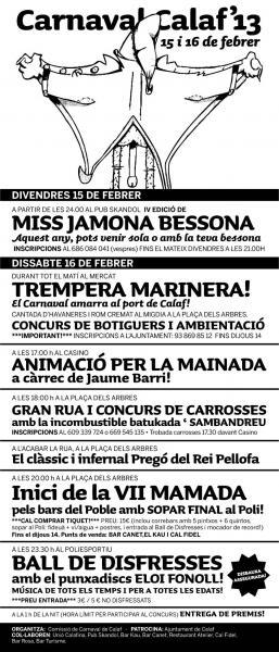 cartell Carnaval de Calaf - Festa del Pellofa 2013 - Calaf