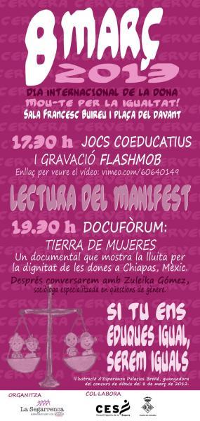 cartell 8 de març: Mou-te per la igualtat!