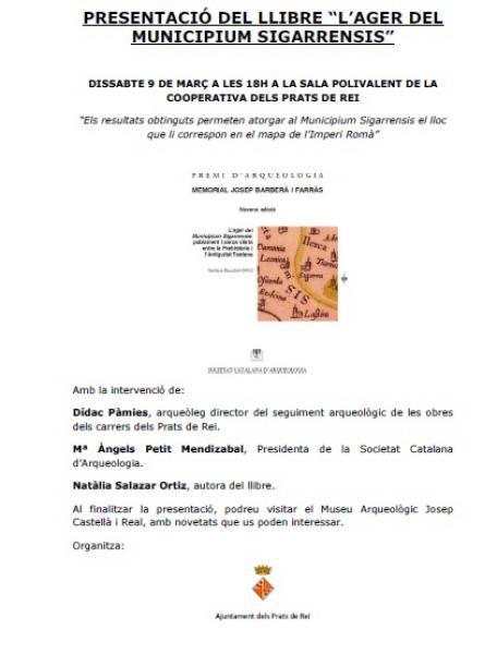 cartell Presentació del llibre 'L'ager del Municipium Sigarrensis' -
