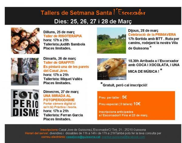 cartell Casal Jove de Guissona: activitats per Setmana Santa - Guissona