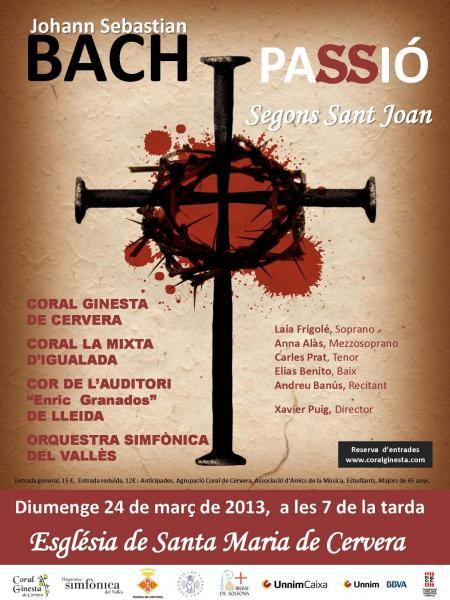 cartell Concert La Passió segons Sant Joan de Bach - Cervera