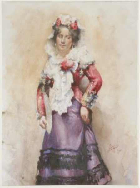 Dama con mantilla (aquarel·la) -