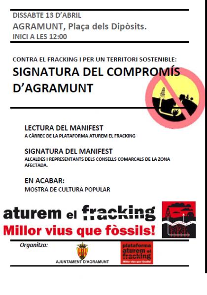 cartell trobada d'alcaldes contra el fracking - Agramunt