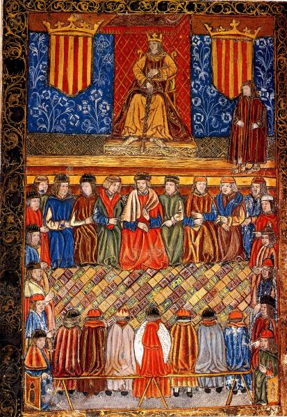 Ferran II d'Aragó 'el Catòlic' presidint les Corts Catalanes. Frontis d'una edició de 1495 de les Constitucions catalanes -