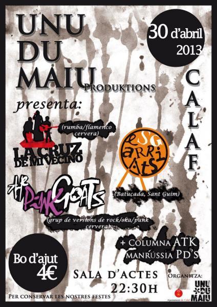 cartell Concerts Unu du Maiu - Calaf