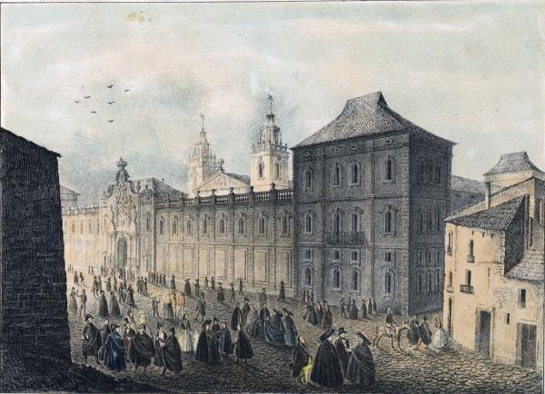 La universitat de Cervera en un gravat de l'època