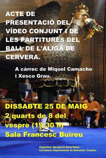 cartell Presentació del vídeo conjunt i de les partitures del Ball de l'Àliga de Cervera