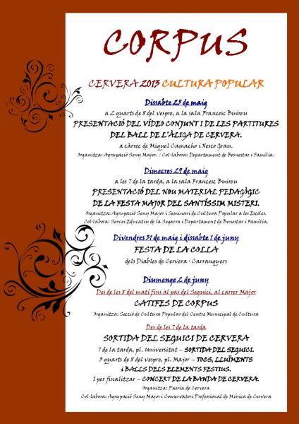 cartell CORPUS A CERVERA 2013 - Actes de cultura popular
