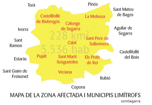 Mapa de la zona afectada -