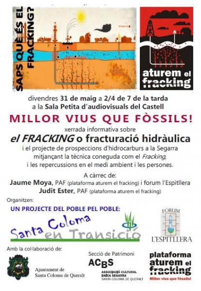 cartell xerrada ATUREM EL FRACKING - Santa Coloma de Queralt