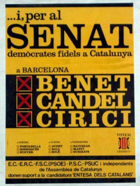 Cartell dels candidats al Senat per Entesa dels Catalans -