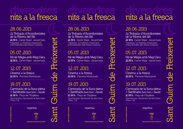 cartell Activitats estiu 2013 a Sant Guim - Sant Guim