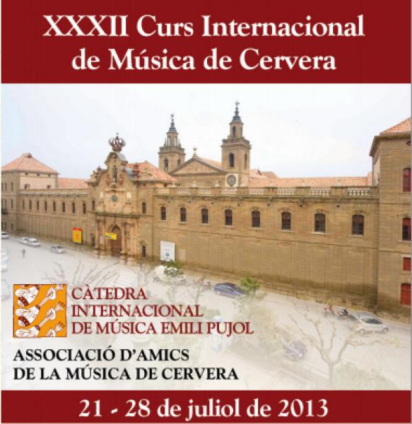 cartell XXXII Curs Internacional de Música de Cervera - Cervera