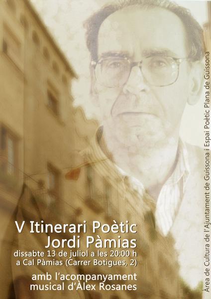 cartell 5è Itinerari poètic de Jordi Pàmias - Guissona