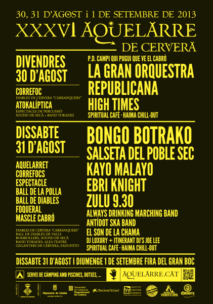 Aquelarre 2013 cartell grups - Cervera