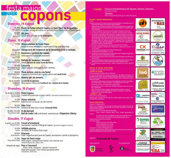 cartell Festa major Copons 2013