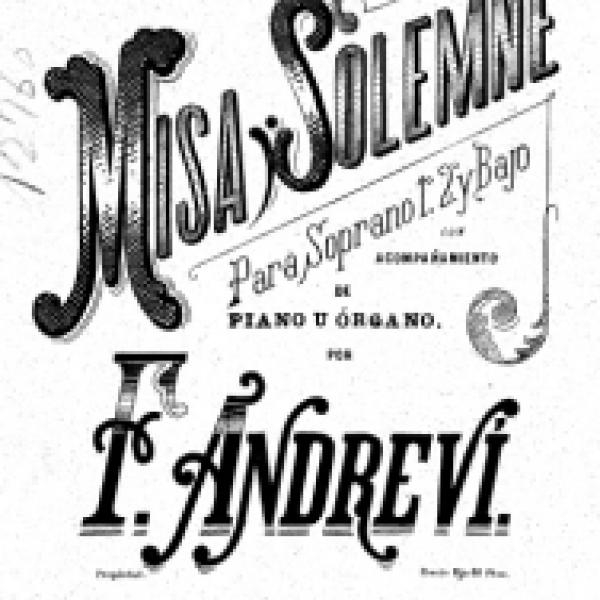 Detall de la partitura la Missa solemne obra d'Andreví