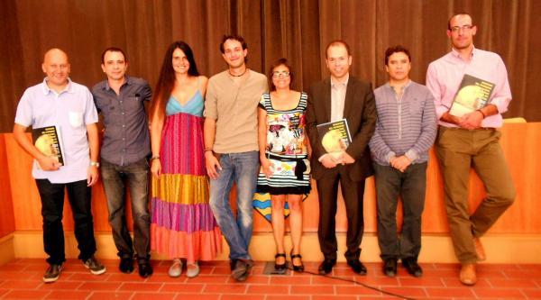 membres de l'equip de treball, amb Xavier Casoliva, alcalde de Guissona, i Miquel Parramon, conseller de turisme de la Segarra