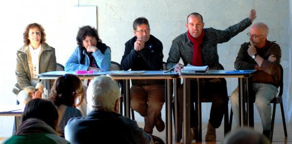 M.Teresa Salat, Montse Rumbau, Francesc Duocastella, Jaume Moya i Jordi Segura en la presentació del Manifest - Els Prats de Rei