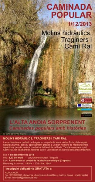 cartell Caminada Molins hidràulics, traginers i Camí Ral