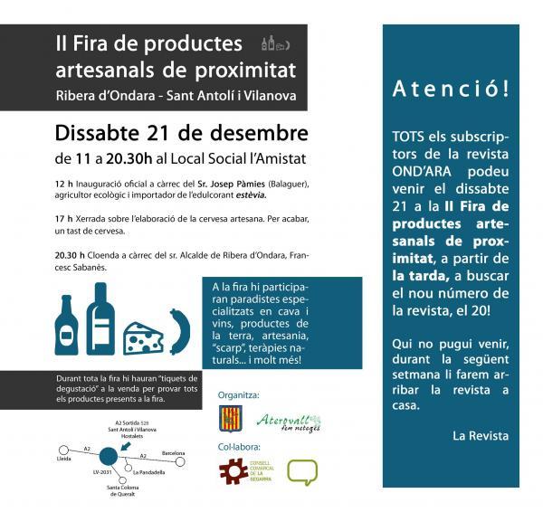 cartell Fira de productes artesanals i de proximitat a Sant Antolí