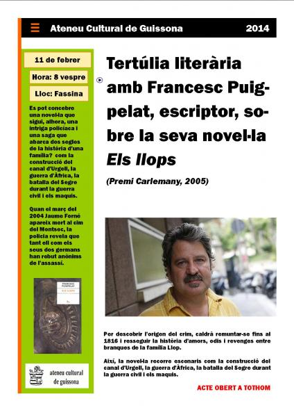 cartell Tertúlia literària amb l'escriptor Francesc Puigpelat