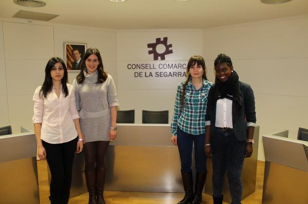 Alumnes de Turisme de la UdL presentant el pla al Consell Comarcal