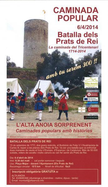 cartell caminada del Tricentenari a la ruta de la Batalla dels Prats de Rei