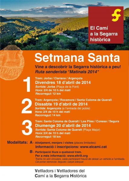cartell Vine a descobrir la Segarra històrica a peu! -