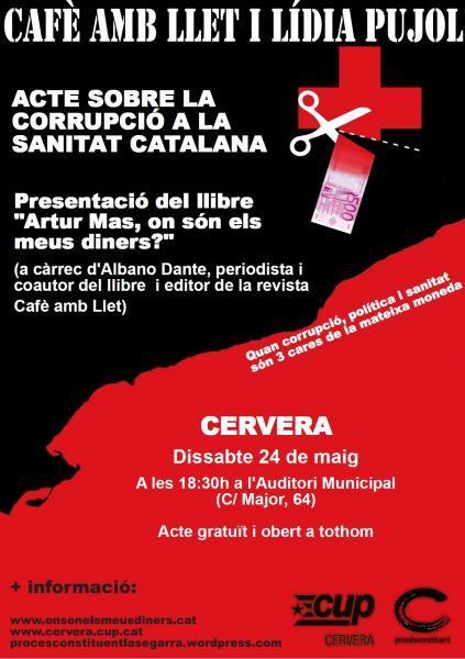 cartell presentació del llibre Artur Mas: on són els meus diners?