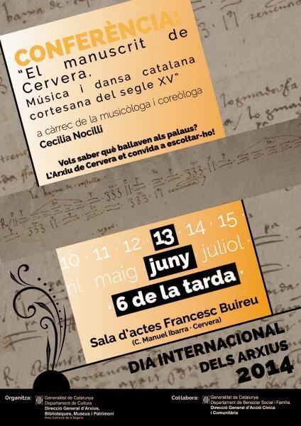 cartell Conferència El manuscrit de Cervera. Música i dansa catalana del segle XV