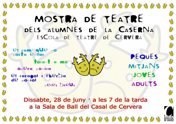 cartell Mostra de Teatre dels Alumnes - Cervera