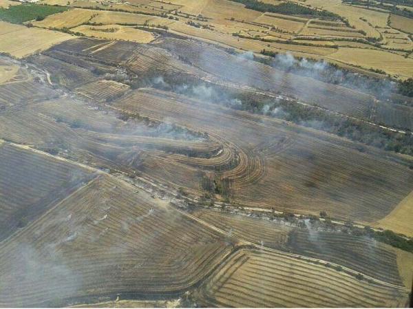 Un foc crema 45 hectàrees a Sant Guim de la Plana