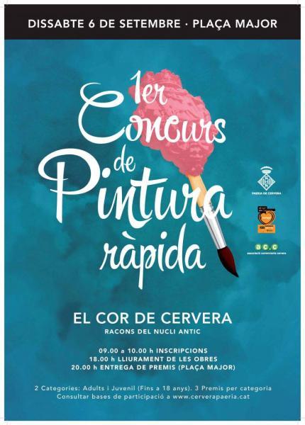 cartell 1r Concurs de pintura ràpida 'El cor de Cervera'