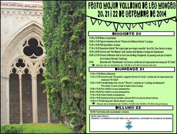cartell Festa major Vallbona de les Monges 2014