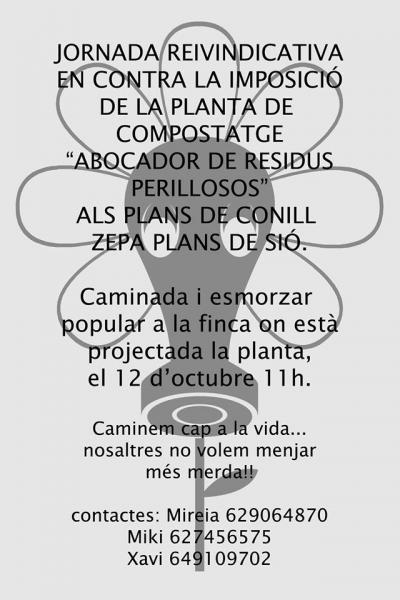cartell marxa contra la planta de compostatge