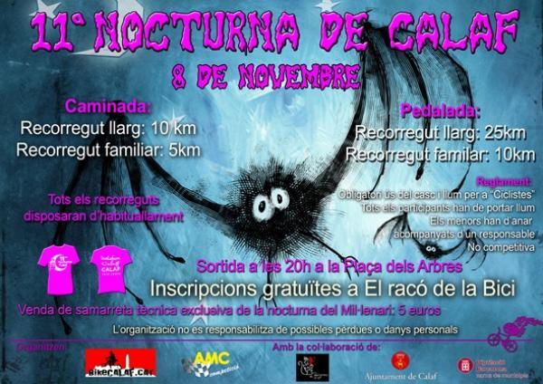 cartell 11a Nocturna, caminada i pedalada, de Calaf