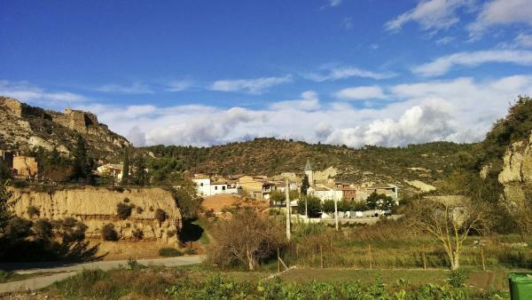 16.11.2014 Vista del poble des dels horts  Castellfollit de Riubregós -  Ramon Sunyer