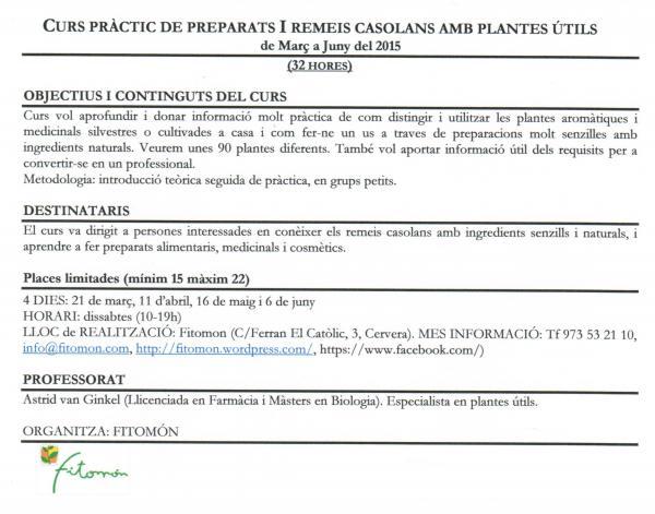 cartell Curs Pràctic de Preparats i Remeis Casolans amb Plantes Útils