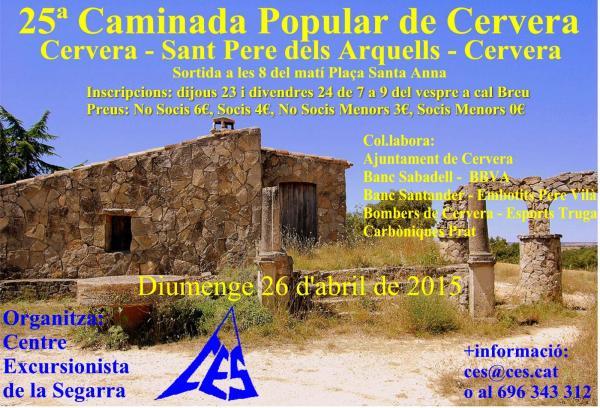 cartell 25a Caminada Popular de Cervera