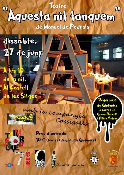 cartell AQUESTA NIT TANQUEM, teatre + gintònics