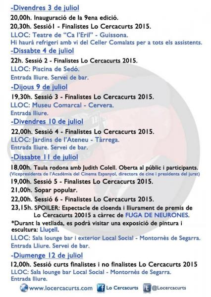 cartell Lo Cercacurts 2015 - Montornès de Segarra